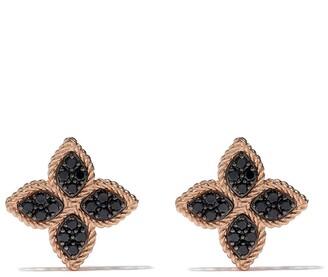 Roberto Coin 18kt rose gold Princess Flower black diamond earrings