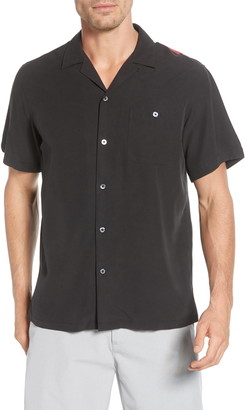 Tori Richard Santa Notes Classic Fit Silk Blend Button-Up Shirt