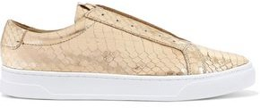 Donna Karan Caya Metallic Snake-effect Leather Slip-on Sneakers