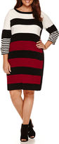 Studio 1 3/4 Sleeve Stripe Sweater Dress-Plus