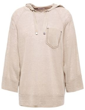 Brunello Cucinelli Bead-embellished Linen-blend Hoodie
