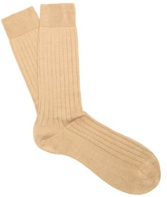 Pantherella Pembrey Cotton-blend Socks - Light Khaki