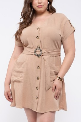 Blu Pepper Button Down Waist Belt Dress (Plus Size)