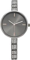 Geneva Platinum Gunmetal Crystal-Link Bracelet Watch