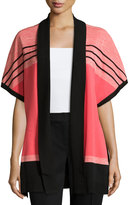 Ming Wang Striped Open-Front Jacket, Apricot/Black/Wheat
