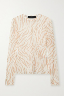 Sally LaPointe Zebra-print Stretch-mesh Top - Ivory