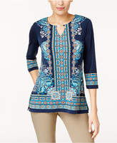 JM Collection Embellished Printed Keyhole Tunic, Created for Macy's