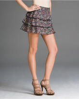 Graphic Cotton Voile Ruffled Mini Skirt