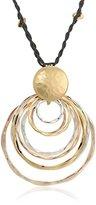 "Robert Lee Morris Rose Gold"" Layered Tri-Tone Hammered Sculptural Ring Long Pendant Necklace"