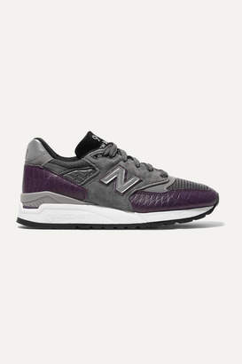 New Balance 998 Suede, Mesh And Croc-effect Leather Sneakers - Grape