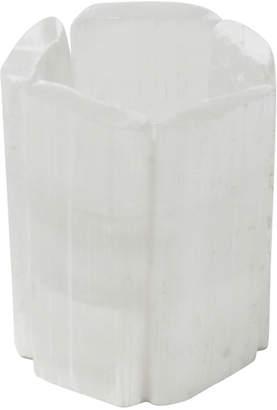 Sagebrook Home White Selenite Tealight Candle Holder
