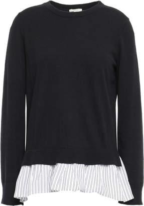 Kate Spade Ruffled Poplin-paneled Cotton-blend Sweater