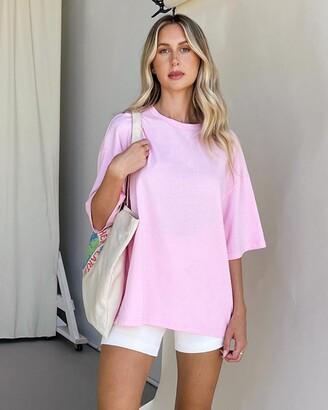 Dazie - Women's Pink Basic T-Shirts - Nostalgia Oversized Boyfriend Tee - Size 6 at The Iconic