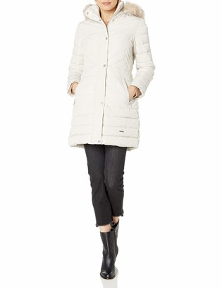 Kenneth Cole New York Kenneth Cole Women's 3/4 Mixed Quilted Puffer with Faux Fur Trimmed Hood
