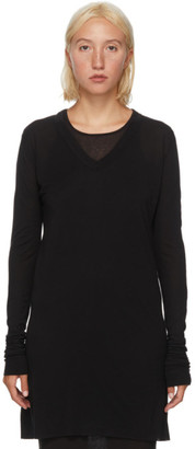 Rick Owens Black Silk V-Neck Long Sleeve T-Shirt