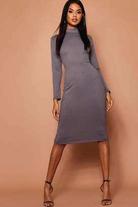 boohoo High Neck Jumbo Rib Midi Dress