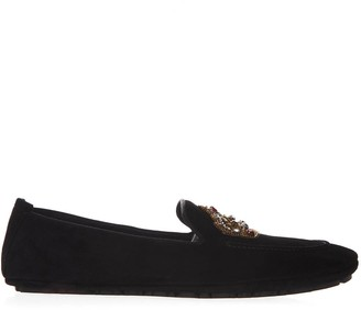 Dolce & Gabbana Embellished Black Suede Loafers