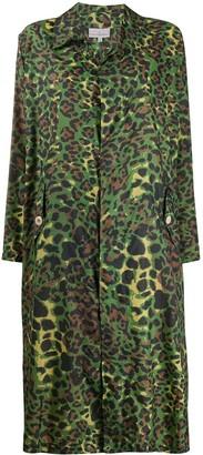 Pierre Louis Mascia Leopard Print Collared Single-Breasted Coat