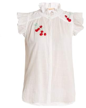 Bliss and Mischief Cherry Embroidered Cotton Voile Shirt - Womens - White