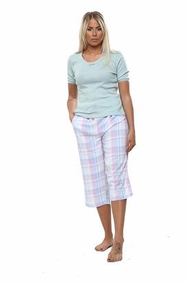 Uc Ladies Ex Laura Ashley 100% Pure Cotton Short Sleeve Pyjama Set Womens Summer Top PJ Loungewear Clothing Sets Shorts Pyjamas Lounge Wear Bottoms Desginer Gift Check Print Top Tee (Mint Green XL)