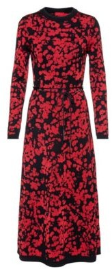 HUGO BOSS A Line Dress With Jacquard Woven Cherry Blossom Print - Patterned