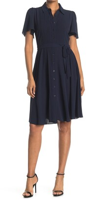 Donna Morgan Pintuck Detail Midi Shirt Dress