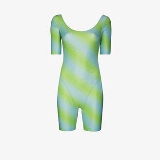 MAISIE WILEN Green Diagonal Print Bodysuit