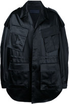 Juun.J oversized military coat with text detail - men - Cotton/Polyester/Acetate - 46