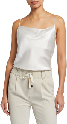 ATM Anthony Thomas Melillo Silk Charmeuse Cowl-Neck Cami