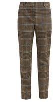 Givenchy High-rise Checked Wool-blend Trousers - Womens - Grey Multi