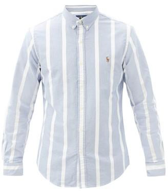 Polo Ralph Lauren Logo-embroidered Striped Cotton-oxford Shirt - Light Blue
