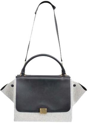 Celine Grey Calfskin Leather Wool Trapeze Bag