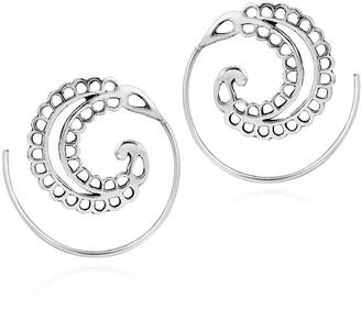 Aeravida Handmade Majestic Crescent Shaped Leaf Sterling Silver Hoop Earrings