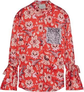 Cinq à Sept Elisia Printed Silk-charmeuse Shirt