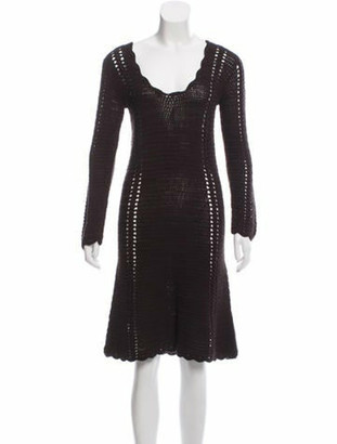 Miu Miu Open-Knit Midi Dress Brown