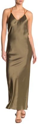 Helmut Lang Rubberband Sleeveless Satin Maxi Slip Dress
