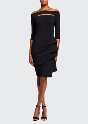 Chiara Boni Melania Off-the-Shoulder 3/4-Sleeve Dress w/ Front Cutout