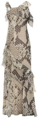 Roberto Cavalli Cold-shoulder Ruffled Snake-print Silk-chiffon Maxi Dress