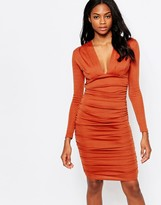 AX Paris V Neck Bodycon Midi Dress with Ruching