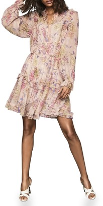 Reiss Cari Print Long Sleeve Minidress