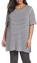 Eileen Fisher Plus Size Women's Stripe Organic Linen Tunic