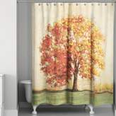 Autumn Tree Curtain in Orange/Green