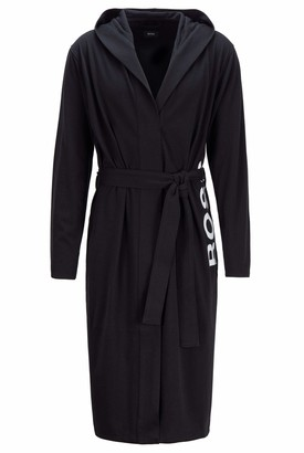 HUGO BOSS Mens Identity Hooded Gown Logo Dressing Gown in Heavyweight Melange Cotton