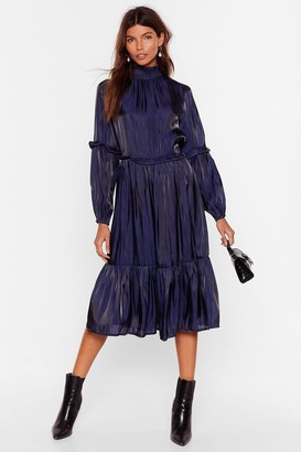 Nasty Gal Womens Focus on the Tier and Now High Neck Midi Dress - Navy - 8