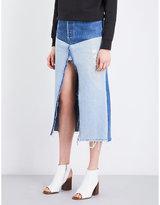 RE/DONE High-waisted distressed denim midi skirt