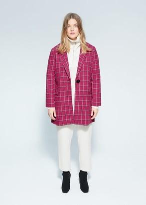 MANGO Checked wool-blend coat
