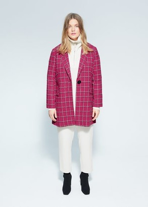 MANGO Violeta BY Checked wool-blend coat fuchsia - S - Plus sizes