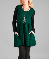 Aster Green & Black Contrast-Sleeve Scoop Neck Tunic - Plus Too