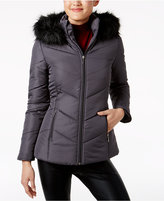 Maralyn & Me Juniors' Faux-Fur-Trim Coat