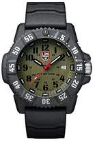 Luminox Carbon SEAL Men's Quartz watch with Green dial featuring LLT light Technology 46 millimeters Carbon Compound case and Grey Rubber Strap XS.3813